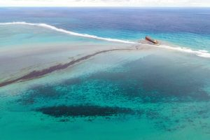 Oil leaking from a wreck near the Blue Bay Marine Park, off the coast of Mauritius, last year.Credit...Agence France-Presse — Getty Images