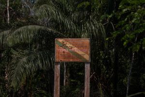 A plaque, pockmarked from shotgun blasts, indicating indigenous territory in Rondônia State, Brazil.Credit...Victor Moriyama for The New York Times